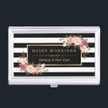 """Vintage Floral B&amp;W Stripes Beauty Salon Gold Frame Business Card Holder<br><div class=""""desc"""">================= ABOUT THIS DESIGN ================= Vintage Floral Beauty Salon Gold Frame Name with Black and White Stripes - Personalized Stylish and Unique Business Card Holder. This design is perfect for Wedding Coordinator, Event Planner, Modern Makeup Artist, Craft Artist , Fashion Stylist, Hair Stylist, Nail Technician, Beautician, Cosmetologist, Esthetician, Hairdresser, SPA...</div>"""