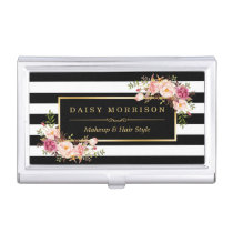 Vintage Floral B&W Stripes Beauty Salon Gold Frame Business Card Holder