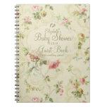 Vintage Floral-Baby Shower Guest Book- Spiral Notebook