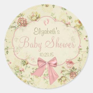 Vintage Floral- Baby Shower Classic Round Sticker
