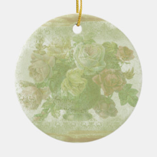 Vintage Floral Background Ceramic Ornament