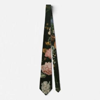 Vintage Floral Baroque, Vase of Flowers in a Niche Neck Tie