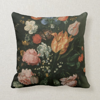 Vintage Floral Baroque, Vase of Flowers in a Niche Pillow