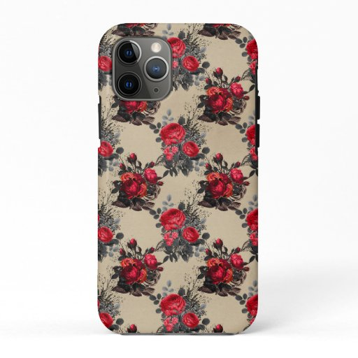 Vintage Floral Beige Pattern iPhone 11 Pro Case