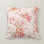Vintage floral beige peach pink red shabby chic throw pillow