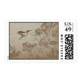 Vintage Floral Beige Postage Stamp