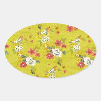 vintage floral birds oval sticker
