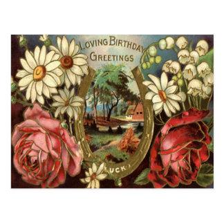 Vintage Floral Birthday Greeting Postcard