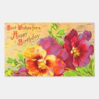 Vintage Floral Birthday Rectangular Sticker