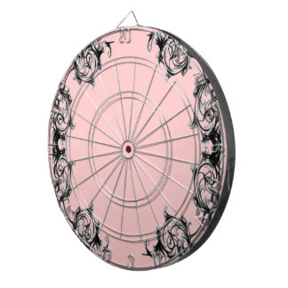 VINTAGE FLORAL BLACK AND PINK DAMASK DARTBOARD