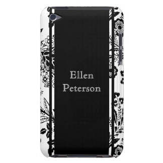 Vintage Floral Black and White Custom Name iPod Touch Case