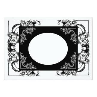 VINTAGE FLORAL BLACK AND WHITE DAMASK INVITATION