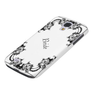 VINTAGE FLORAL BLACK AND WHITE DAMASK  phone casae Galaxy S4 Cover