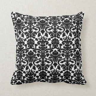 Vintage Floral Black and White  Damask Pillow