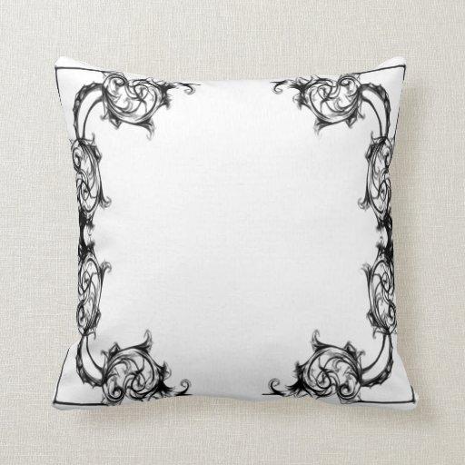Damask Throw Pillows Black White : VINTAGE FLORAL BLACK AND WHITE DAMASK THROW PILLOW Zazzle