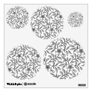 Vintage Floral Black and White Flowers Wall Decal
