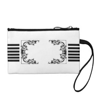 VINTAGE FLORAL BLACK AND WHITE stripe coin purse