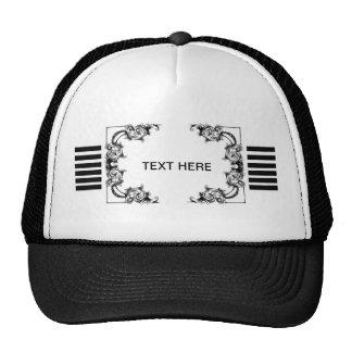 VINTAGE FLORAL BLACK AND WHITE STRIPE HAT
