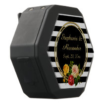 Vintage Floral Black and White Stripe Personalized Black Bluetooth Speaker