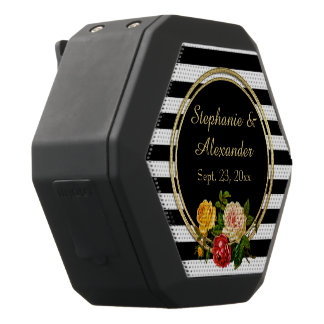 Vintage Floral Black and White Stripe Personalized Black Bluetooth Speaker
