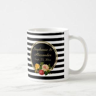 Vintage Floral Black and White Stripe Personalized Coffee Mug