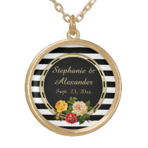 Vintage Floral Black and White Stripe Personalized Gold Finish Necklace
