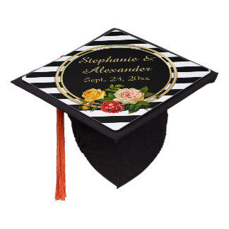 Vintage Floral Black and White Stripe Personalized Graduation Cap Topper