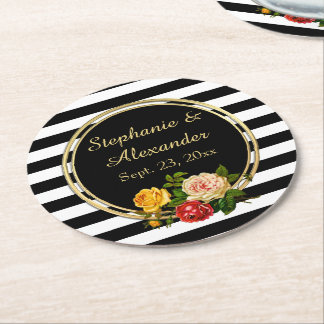 Vintage Floral Black and White Stripe Personalized Round Paper Coaster