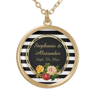 Vintage Floral Black and White Stripe Personalized Round Pendant Necklace