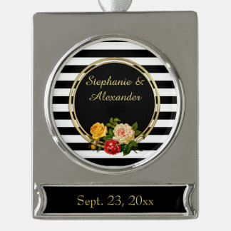 Vintage Floral Black and White Stripe Personalized Silver Plated Banner Ornament