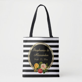 Vintage Floral Black and White Stripe Personalized Tote Bag