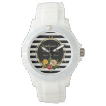 Vintage Floral Black and White Stripe Personalized Watch
