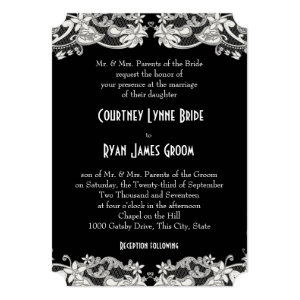 Vintage Floral Black and White Wedding 5x7 Paper Invitation Card