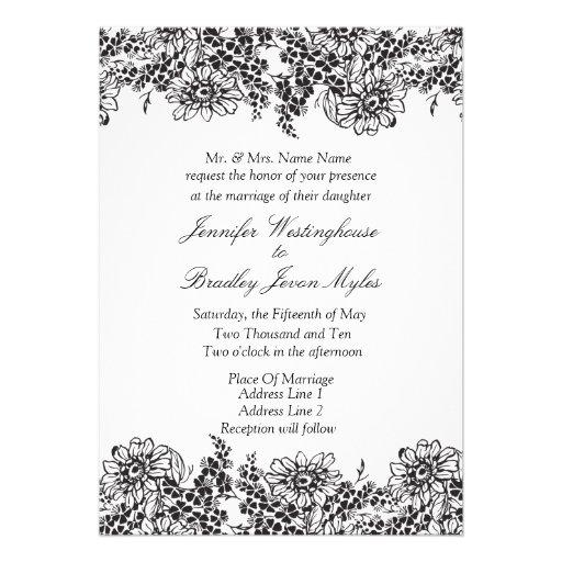 Vintage Floral Black And White Wedding Invitations 5 X 7 Invitation Card