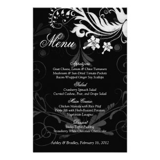 Vintage Floral Black and White Wedding Menu Card