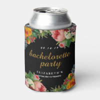 Vintage Floral Black Bachelorette Party Can Cooler