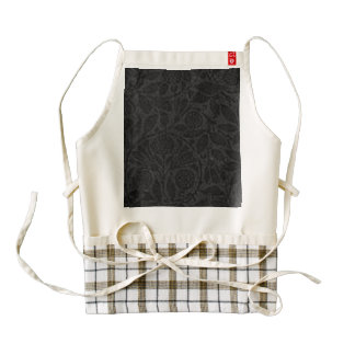 Vintage Floral Black Flowers Leaves Zazzle HEART Apron
