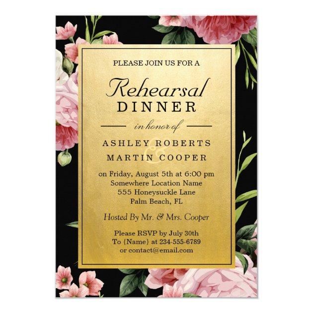 Vintage Floral Black Gold Wedding Rehearsal Dinner Card