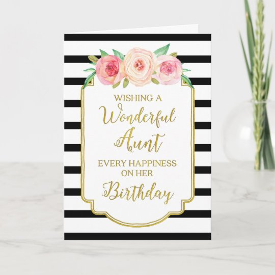 Vintage Floral Black Stripes Aunt Birthday Card