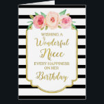 """Vintage Floral Black Stripes Niece Birthday Card<br><div class=""""desc"""">Birthday card for niece with vintage pink and peach watercolor flowers,  black and white stripes,  gold rustic frame,  rustic handwritten style text and thoughtful verse.</div>"""