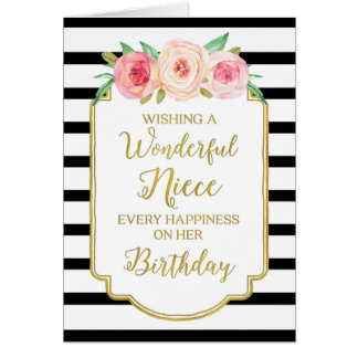 Vintage Floral Black Stripes Niece Birthday Card