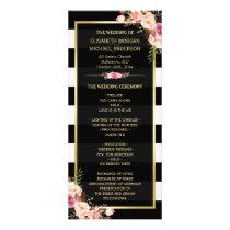 Vintage Floral Black White Striped Wedding Program