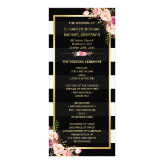 Vintage Floral Black White Striped Wedding Program