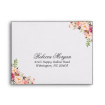 Vintage Floral Black White Stripes for RSVP Envelope