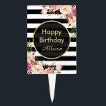 """Vintage Floral Black White Stripes Happy Birthday Cake Topper<br><div class=""""desc"""">Vintage Floral Black White Stripes Happy Birthday Personalized Cake Topper.</div>"""