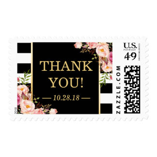 Vintage Floral Black White Stripes Thank You Postage