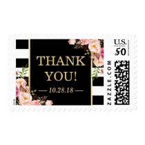 Vintage Floral Black White Stripes Thank You Postage