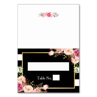 Vintage Floral Black White Stripes Wedding Place Card