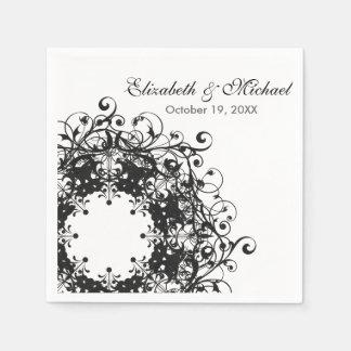 Vintage Floral Black & White Wedding Birthday Napkin