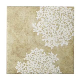 Vintage floral blanco azulejo cuadrado pequeño
